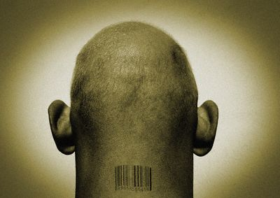 Bar Code on Bald Man's Neck