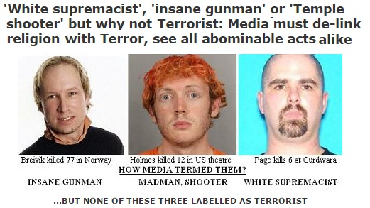 White Christians are not termed terrorists by media