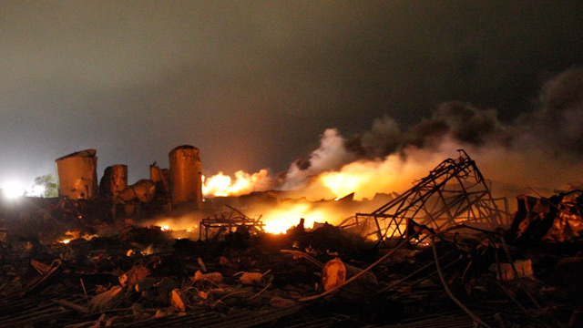 The remains of a fertilizer plant after explosion in West, Texas